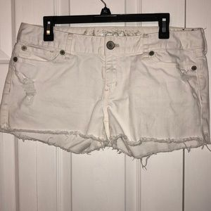 Express White Distressed Shorts